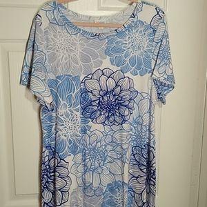 EUC 3X LULAROE CARLY DRESS ~ BLUE FLORAL + WHITE